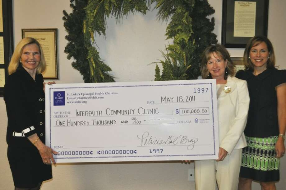 The South County Community Clinic, dba Interfaith Community Clinic, received a $100,000 matching grant from St. Luke's Episcopal Health Charities May 18. Pictured are: Dr. Ann Snyder, president and CEO of Interfaith of The Woodlands and Interfaith Community Clinic; Patricia Gail Bray, PhD, executive director of the St. Luke's Episcopal Health Charities; and Debra Sukin, Interfaith Community Clinic board member and CEO St. Luke's The Woodlands Hospital & St. Luke's Lakeside Hospital.