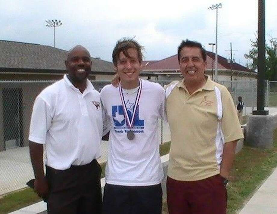 Magnolia West senior Kevin Rodriguez, pictured with coaches Vern Swisher (left) and Fernando Rodriguez, became the first state tennis qualifier in school history April 22 at the Region III-4A tournament.