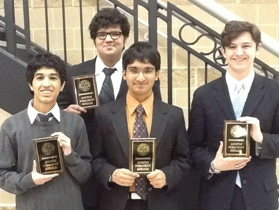 Four Clear Creek ISD scholars, Hunter Bodiford and Rishi Suresh of Clear Brook High and Akil Udawala and Mohammad Syed of Clear Lake High, from left, will travel to Indianapolis in June to compete in the National Forensics League National Tournament to determine who are the nation's best speakers and debaters.