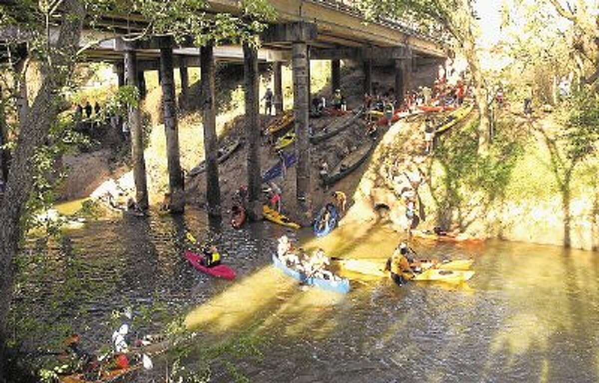 Boaters enter the water at this year's Buffalo Bayou Regatta.
