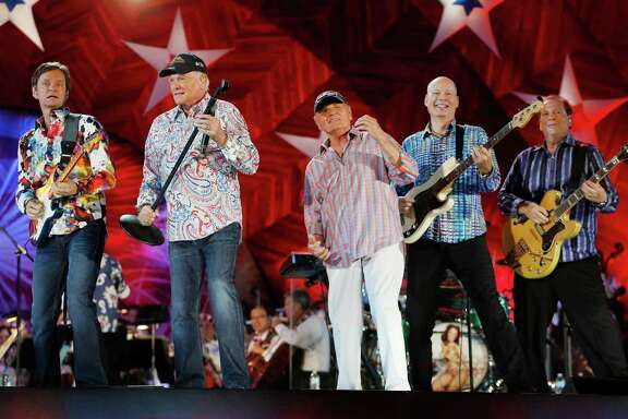 Mike Love (second from left) and Bruce Johnston (third from left) front the Beach Boys.