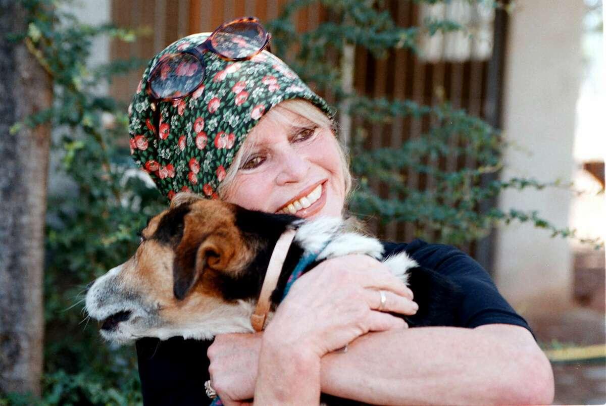 Animal rights activist Brigitte Bardot visits her dog refuge