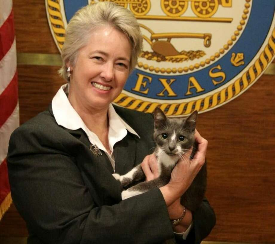 Houston Mayor Annise Parker with Jesse, BARC's Cat of the Week