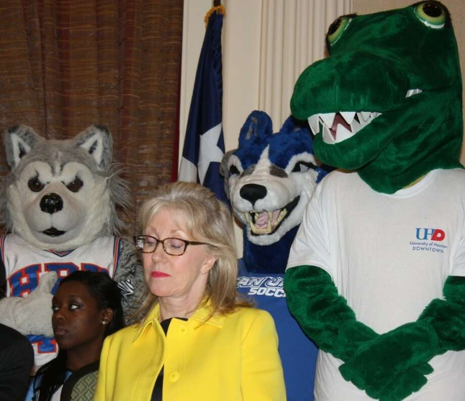 Catherine Mosbacher, president of Center for Houston's Future, joins a host of Houston school mascots in pushing for more college degrees during the coming year.