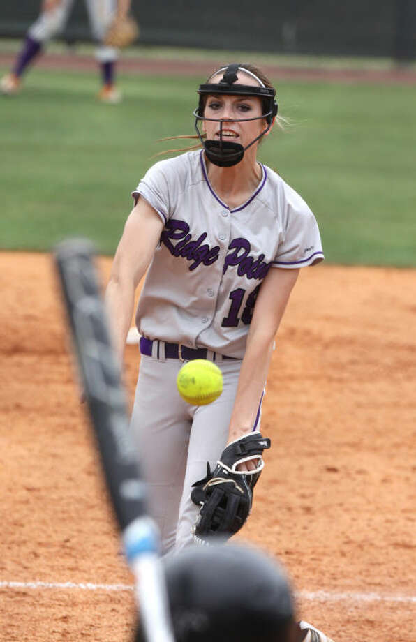 Ridge Point's Amber Grove combined with Kate Patel for a perfect game in a 12-0 rout of Davis to begin the Region III-4A playoffs. Photo: Alan Warren/HCN