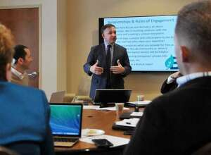 Rick D'Errico, managing director of the New York BizLab in Schenectady, talking at a previous event.
