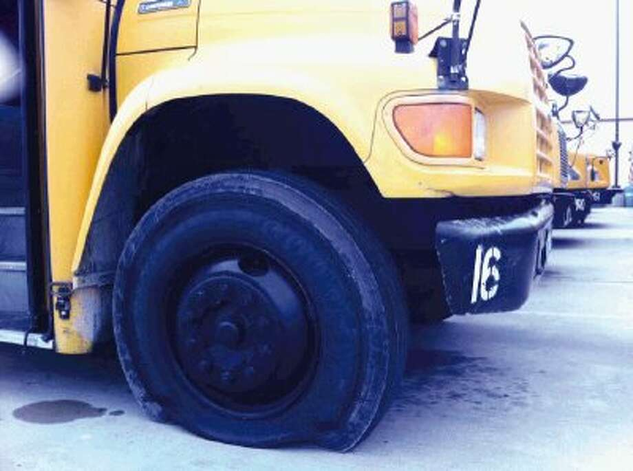 At least 58 buses had flat tires on them Monday morning at Crosby ISD Transportation, the result of what officials are calling a senior prank that went wrong. Authorities are interviewing five persons of interest in the incident and expect to file charges in the next 24-48 hours.
