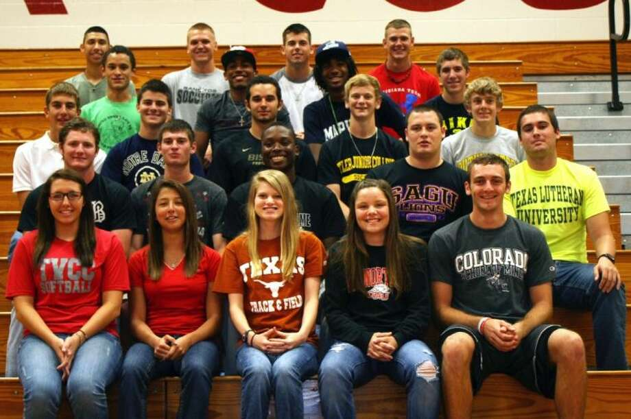 The 23 Tomball HS seniors that signed pledge letters on Wednesday to compete in college athletics next season.