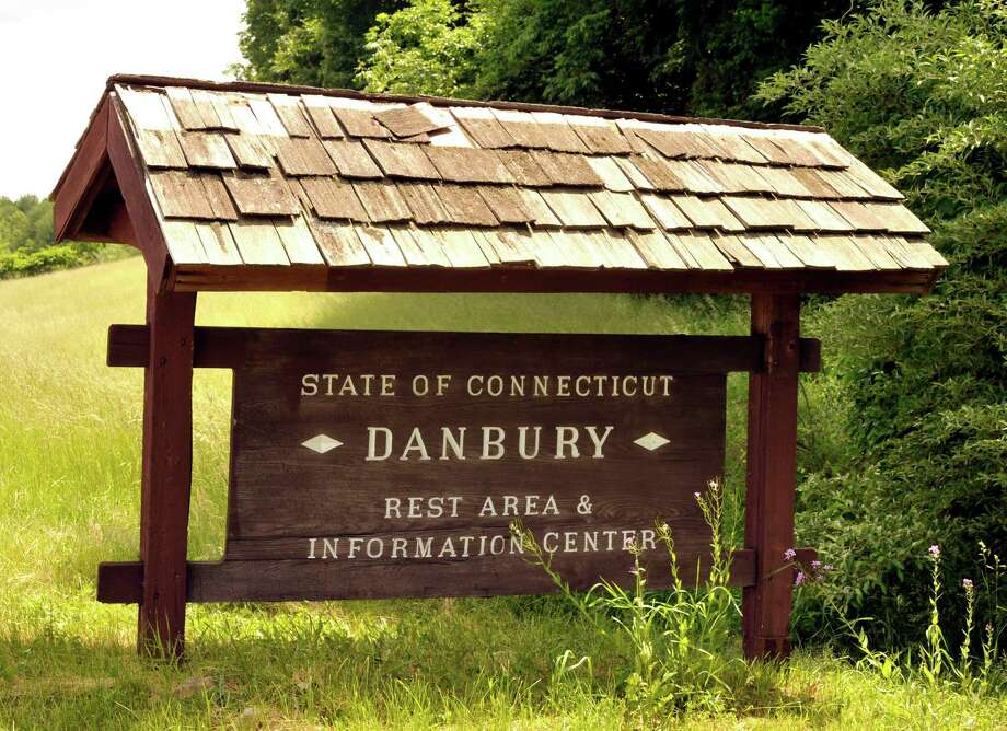 A sign marks the Danbury Rest Area off Interstate 84's Exit 2. Photo: Michael Duffy / ST / The News-Times