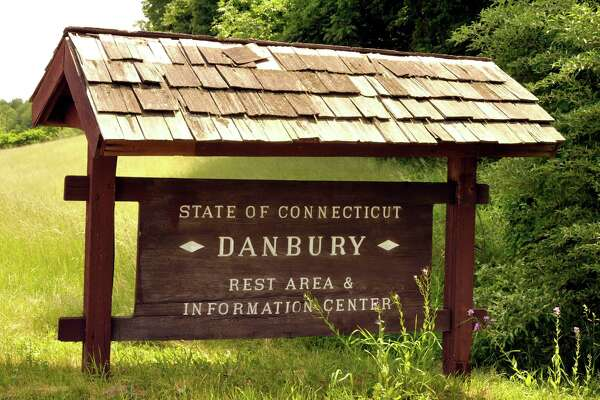 A sign marks the Danbury Rest Area off Interstate 84's Exit 2.