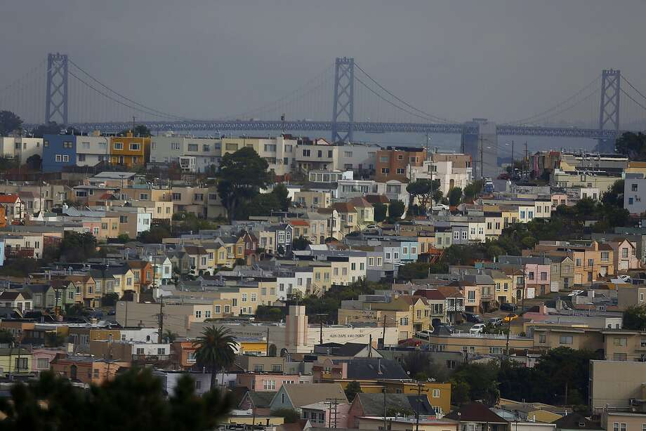 A view of the bay bridge from the hills of John McLaren Park during patchy weather in San Francisco, Calif., on Wednesday, October 28, 2015. Photo: Liz Hafalia, The Chronicle