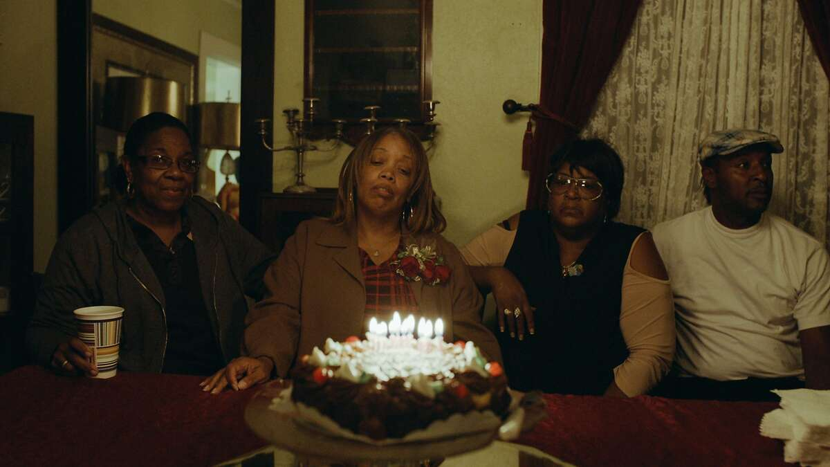 Six months after her son, Mario Woods, was killed by San Francisco Police, Gwen Woods honor her son on his birthday. The image is part of a film in the The Happy Birthday Project by Even/Odd filmmakers in San Francisco.