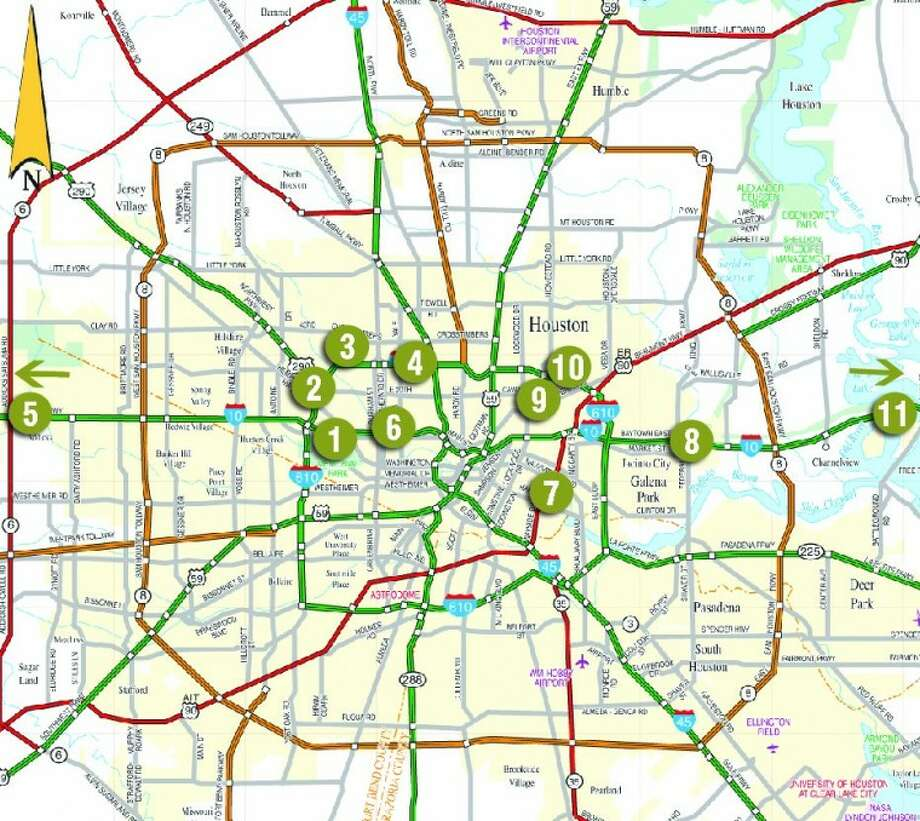 Map Key5 projects to avoidThe Texas Department of Transportation cautions that areas near these projects will likely experiencethe most commuter difficulties during the summer months.1. Interstate 10, widening to Washington Avenue and Taylor Street. Currently under way, should be completed later this year.2. 290 Northwest Freeway construction has been around since April 2010. It is about halfway completed and should be finished by the end of the year.3. Interstate 610, north of Interstate 10 at T.C. Jester to 34th Street (the direct connector). It's coming soon and will last well beyond summer.4. Interstate 610, east of Ella Boulevard to Interstate 45. Began in September 2009, will be completed during the summer.5. Interstate 10 at U.S. 99 Grand Parkway. the northbound frontage road from Kingsland Boulevard to Affinity Street in Katy will have . two inside lanes closed until further notice. (not on map)Still with us for a whileWith one exception, these trouble spots are all expected to be gone before August.6. Interstate 10 Kat: Eastbound entrance ramp from Heights Boulevard is closed until 5 p.m. July 31. Detour to the Taylor entrance.7. U.S. Highway 90 Alternative: Northbound at Clinton Drive is closed until 5 p.m. June 30. Detour traffic will be moved to southbound lanes.8. Interstate 10 East: Eastbound at Federal Road exit ramp is closed until 3 p.m. June 30.9. Interstate 610 North Loop: Eastbound entrance ramp from Homestead is closed until further notice. Detour to the Kirkpatrick entrance.10. Interstate 610 North Loop: Both the eastbound and westbound exit ramp at Kirkpatrick will be closed until 5 p.m. July 30.11. Interstate 10 East: Eastbound and westbound Frontage Road from Wade to Sjolander will have alternate entrance and exit ramps, closed daily from 7 a.m.-4 p.m. until June 30. (not on map).