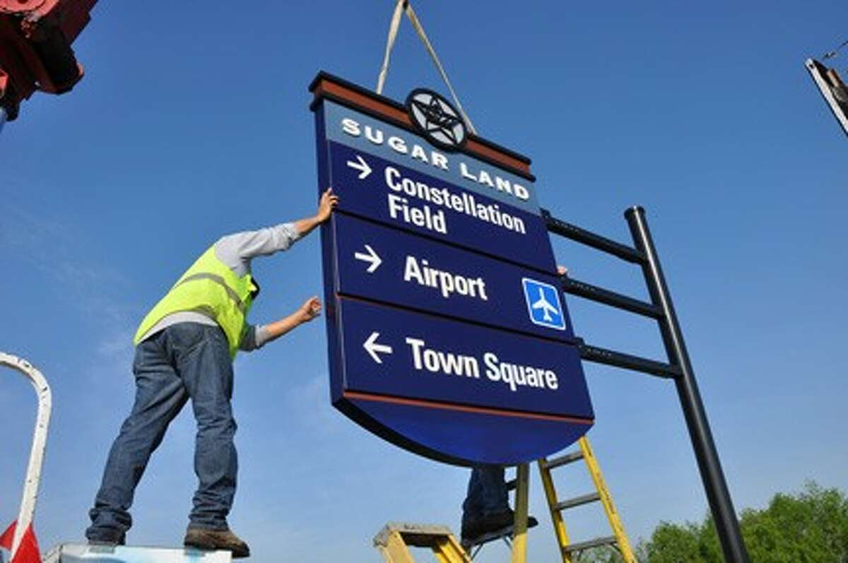 The first of Sugar Land's new wayfinding signs was installed just in time for opening day at Constellation Field on April 26.
