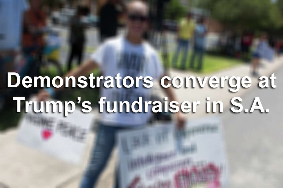 An estimated 500 demonstrators both for and against Donald Trump gathered outside a private fundraiser at Oak Hills Country Club in San Antonio on June 17, 2016, where top VIPs paid $250,000 a ticket.See what you missed by clicking through the gallery.