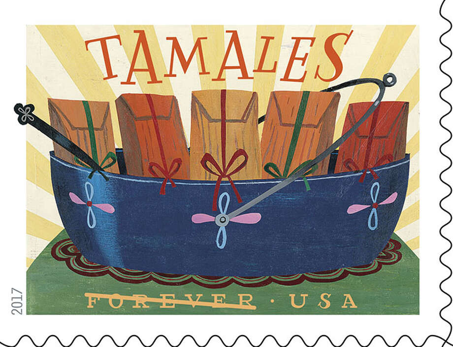 Favorite Latino comfort foods will go from the table to homes across America on parcels once the U.S. Postal Service releases the 2017 Stamp Program, which includes a 20-stamp booklet of designs that look good enough to eat. Photo: USPS
