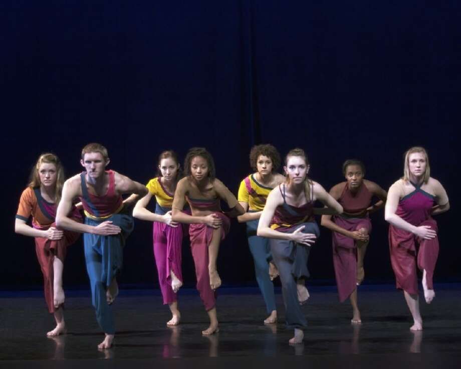 "(Left to right) San Jacinto College South dance students Callen Caldwell, Bryan Peck, Danielle Elsner, Corinne Miller, Anna Ingram, Brittany Frederick, Ty'Esha Lewis, and Jamie Carter will be among other dance students performing in the campus' annual Spring dance concert, ""Moments,"" May 3 - 4. Photo credit: Rhonda Haselbarth."
