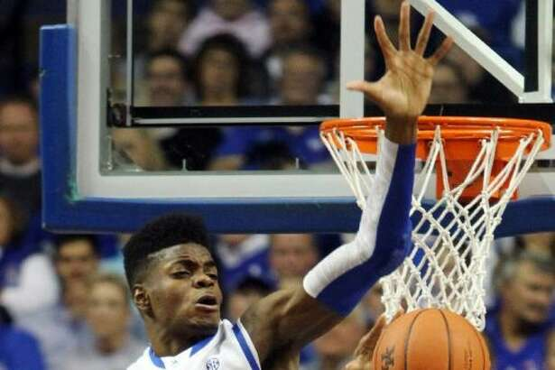 Kentucky's Nerlens Noel, top, is a possible first-round pick in Thursday's NBA Draft.