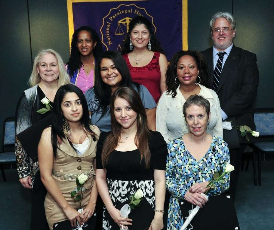 The San Jacinto College 2012 paralegal honor society inductees include, from left, front row: Lupe Diosdado (Hobby Airport area), Noemy Garcia (South Houston), and Cynthia Shortle (Seabrook); middle row: Brenda Melton (Pearland), Lamica King (Channelview), and Johnita Johnson (Meyerland); back row: Rhonda Frank (Baytown), Silvia Querales (Southeast Houston), and Timothy Wallace (North Shore). Photo credit: Rob Vanya, San Jacinto College marketing department.