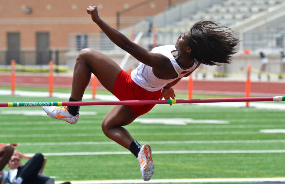 Atascocita's Erica Stewart competes in the high jump at the District 13-5A Track and Field Championships held April 8, 2013, at Turner Stadium in Humble. Photo: Photo By Stephen Whitfield