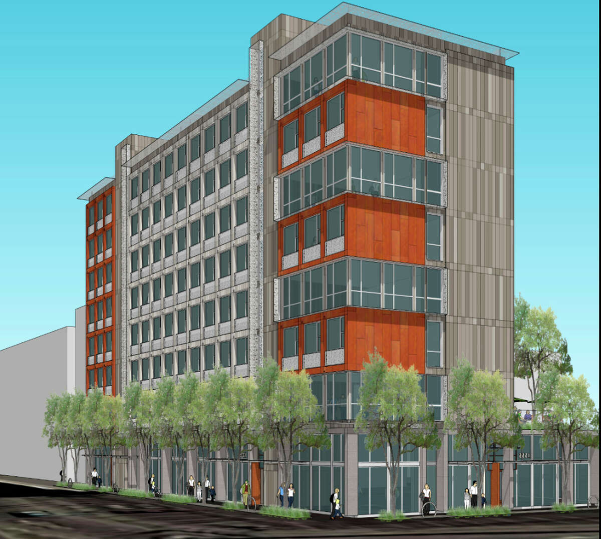 The 200-unit project is proposed for the Department of Public Works' Cesar Chavez Street parking lot site.
