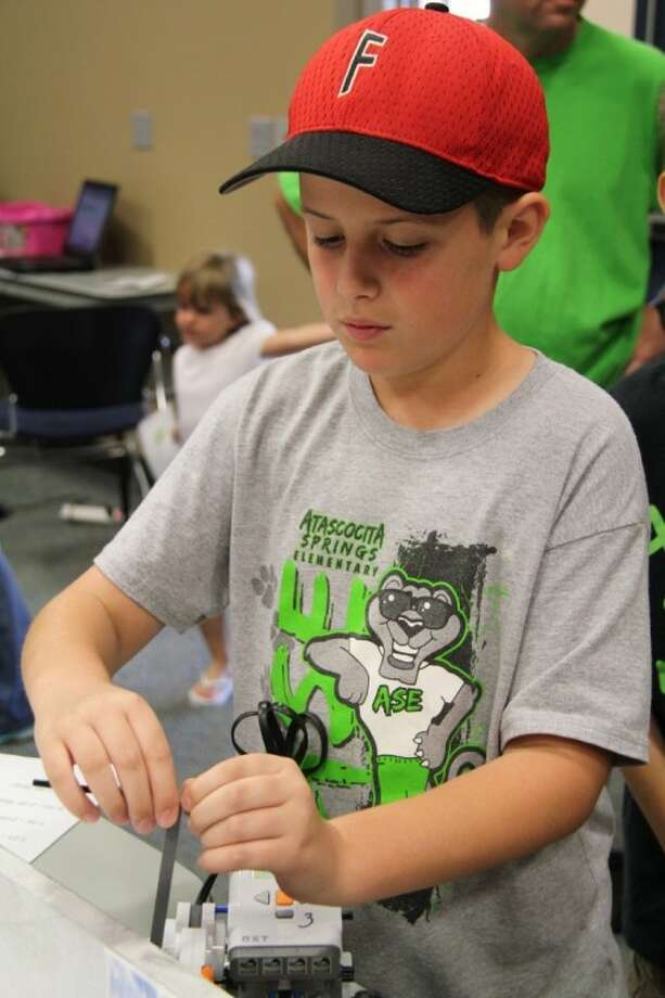 Atascocita Springs Elementary's Hunter Clark participated in the All-Earth EcoBot Challenge April 14.