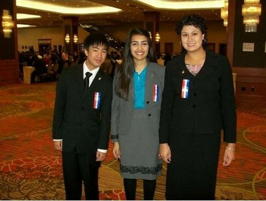 Kempner High School students recently competed in the 2011 LFG/ NFL National Speech and Debate Tournament. From left, Eric Diep, Hira Baig and Stephanie Calvino. Photo: Submitted Photo