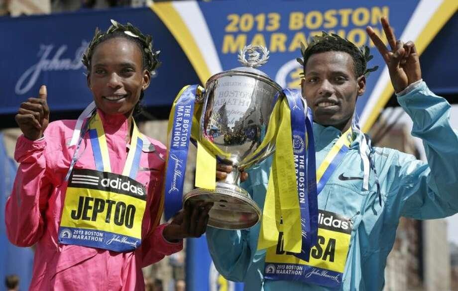 Rita Jeptoo of Kenya, left, and Lelisa Desisa of Ethiopia were the winners of the Boston Marathon before terroist bombings near the finish line created chaos on Monday afternoon.