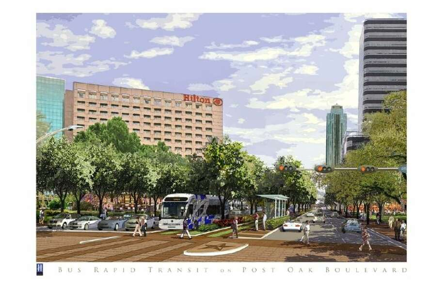 Rendering of Post Oak Boulevard with bus rapid transit system.