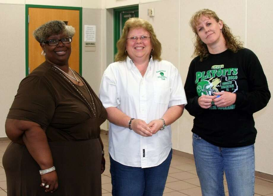 Hempstead ISD service awards honorees, pictured from the left, Georgette Smith, Joan Davis and Carrie Gray were recognized and received pins for 20 years of service to HISD during the annual awards luncheon on May 31.