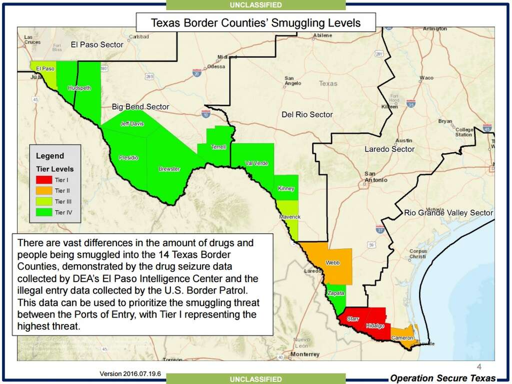 Map shows drug smuggling routes into Texas used by cartels San