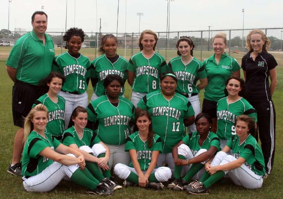 The Hempstead Ladycats landed three spots on the District 26-2A All-District teams. Pictured from the left are (front row) Baylee Smith, Erin Harvey, Kelsey Jozwiak, Jazmine Durham, Chelsea Sheridan, (middle row) Sarah Pearce, Oniesha King, Amanda Uvalle, Alyssa Contreras, (back row) Head Coach Scott McElroy, Alexis Lang, Adrienne Walker, Sierra Duncan, Allyson Rodriguez, coach Kelly Boeker and coach Nicole Bettis.