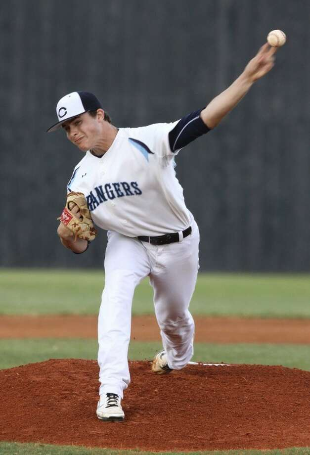 Clements pitcher John King throws against Clear Creek during a first-round playoff game at Frankie Field. (Photo by Alan Warren) Photo: Photo By Alan Warren
