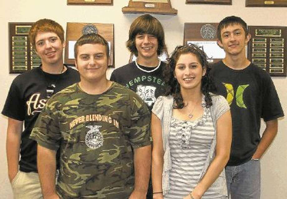 """Five Hempstead High School students received the """"Texas Student Achievement Award"""" from the Texas ACT Council for their performance on the PLAN (the Pre-ACT) Assessment. Pictured from the left are (back row) Rowdy Harper, Christopher Frey, Dusten Orsak, (front row) Trey Hallman and Allyson Rodriguez. / @WireImgId=2411891"""