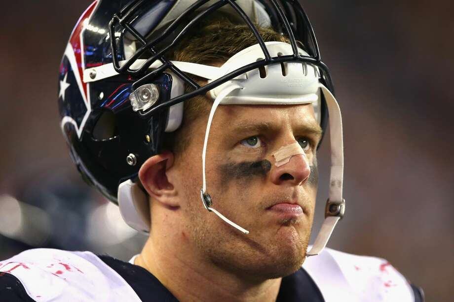 FOXBORO, MA - SEPTEMBER 22:  J.J. Watt #99 of the Houston Texans looks on during the first half against the New England Patriots at Gillette Stadium on September 22, 2016 in Foxboro, Massachusetts.  (Photo by Adam Glanzman/Getty Images) Photo: Adam Glanzman/Getty Images