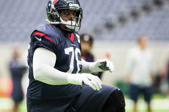 Houston Texans tackle Duane Brown (76) warms up during practice at NRG Stadium on Wednesday, Sept. 28, 2016, in Houston.