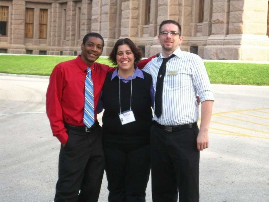 San Jacinto College (SJC) Central Campus was recently elected as treasurer to the Texas Junior College Student Government Association Region V board for 2012-2013. From left to right: Darius Randle, SJC student and student government association member; Amanda, Rose, SJC Central Campus student life coordinator; and Adam Guevara, SJC student and student government association vice president. Photo: For The Citizen