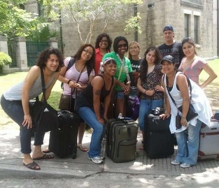 San Jacinto College students in the honors film and literature course went on a recent trip to New Orleans for a first-hand experience in the city's culture, music, and food. Pictured left to right: Juan Moreno, Marissa Loredo, Naghmana Ahmed-Sherazi, Davi Burns, Nicole Lavigne, Jennifer McNaspy, Laura Davila, Nina Lewis, PJ Simecek, and Sarai Gloria. Photo credit: Scott Furtwengler, San Jacinto College.