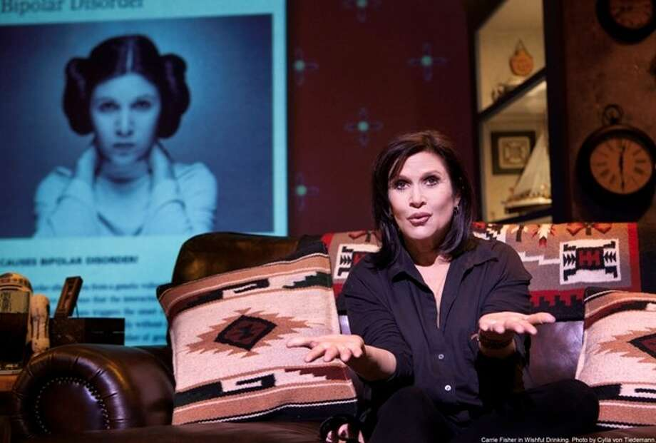 "Carrie Fisher in ""Wishful Drinking."" (Photo by Cylla von Tiedemann, submitted by Broadway Across America)"