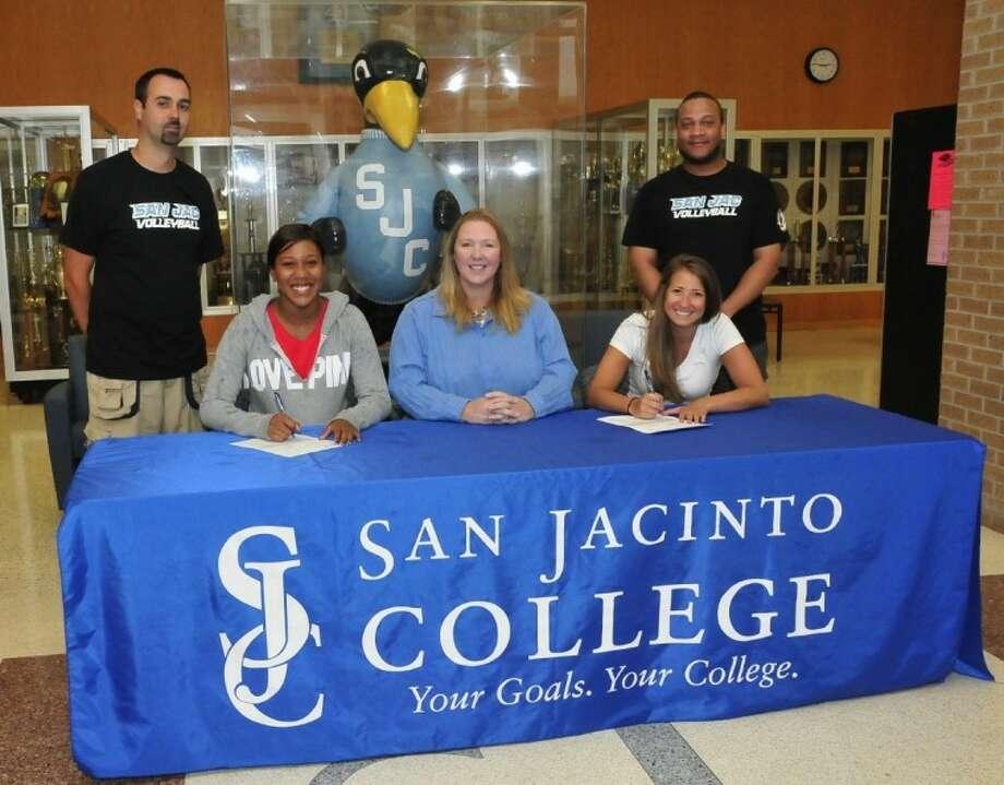 (From left) Jeff Pearce, San Jacinto College (SJC) volunteer volleyball assistant coach; Jazmine Green, SJC volleyball player; Sharon Nelson, SJC volleyball head coach; Hayley Couch, SJC volleyball player; and Dennis Allen, SJC volleyball assistant coach.