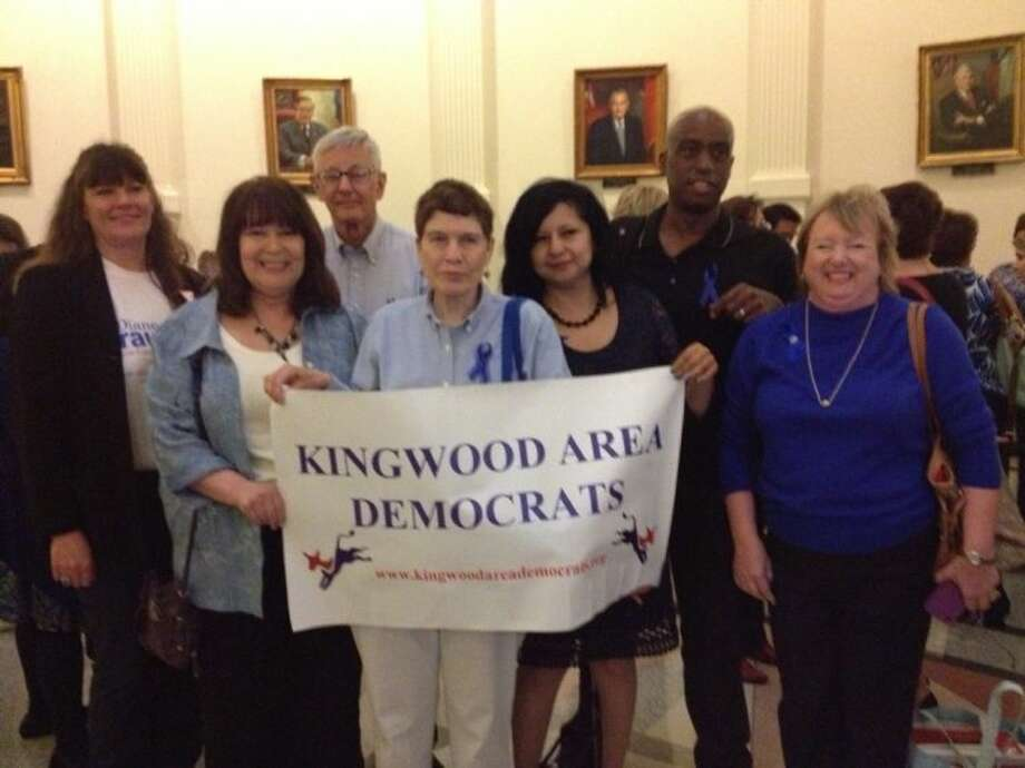 Kingwood Area Democrat members Michelle Michon, Deborah Mowrey, Bruce Menke, Karen Menke, Dalea Luego, Egberto Willies and Andie Gardner rallied with hundreds of other in Austin on April 9 to lobby in support of women's issues. Photo: Submitted Photo