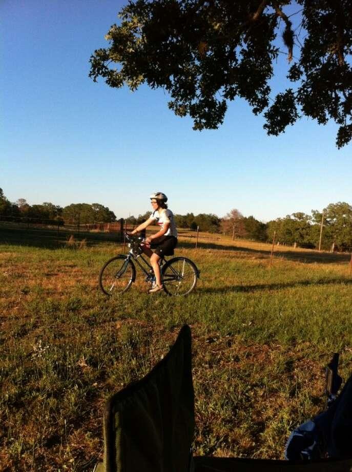 Examiner reporter Caroline Evans rides her grandmother's bike, a 1986 Schwinn Collegiate.