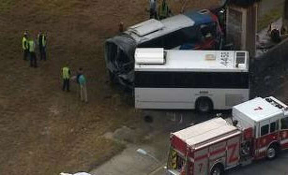The scene of the Metro bus accident Thursday along Highway 288 in the Texas Medical Center area.