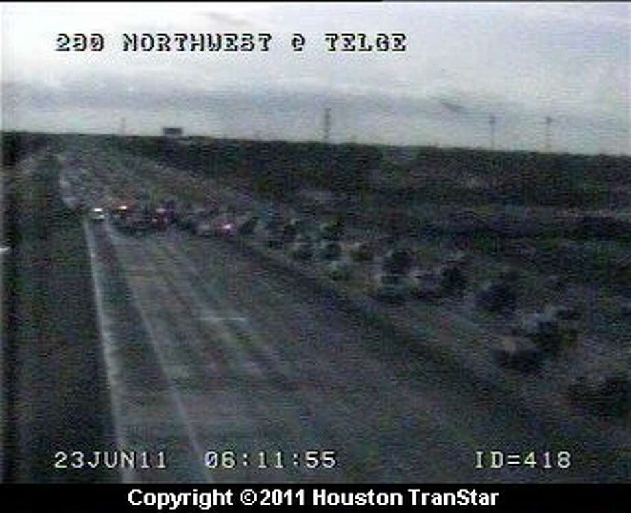 The accident as seen on a Transtar jam cam.