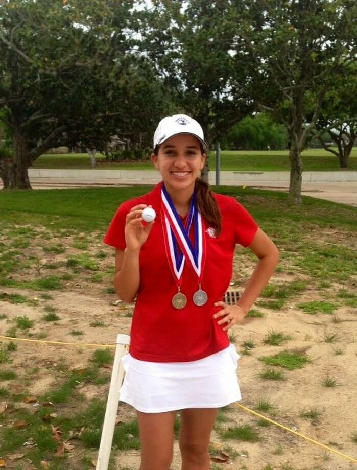 Tomball Lady Cougar Maryssa Ferries won the District 22-4A Girls Golf Championship at Quail Valley Golf Club in Missouri City, with scores of 81-78. Photo: Tomball HS