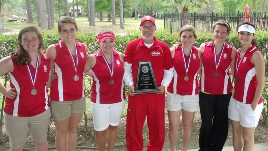 The Splendora LadyCat golf team finished first at the 2013 District Tournament. The team consists of Junior Kori Anderson, Sophomore Morgan Anderson, Freshman Frankie York, Freshman Autumn Knott, Freshman Brianne Morrow and Junior Katie Abbott. Photo: Submitted Photo