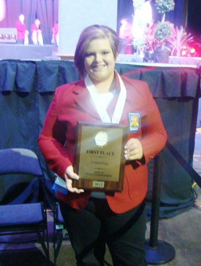 Amber Martin, a junior at Splendora ISD, won first place in a cosmetology skills contest on April 7 in Corpus Christi. Photo: Submitted Photo