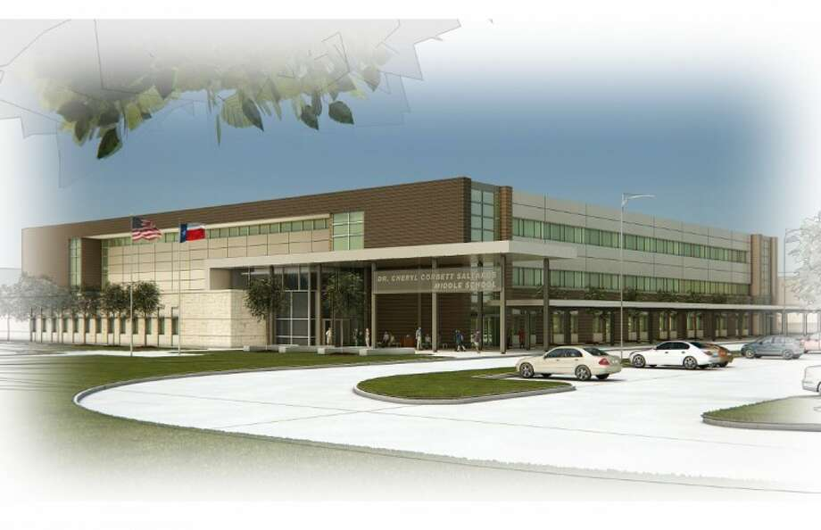 A digital rendering of Salyard Middle School's completed campus shows the three-story buildings extensive use of natural lighting to save energy costs. (submitted photo)