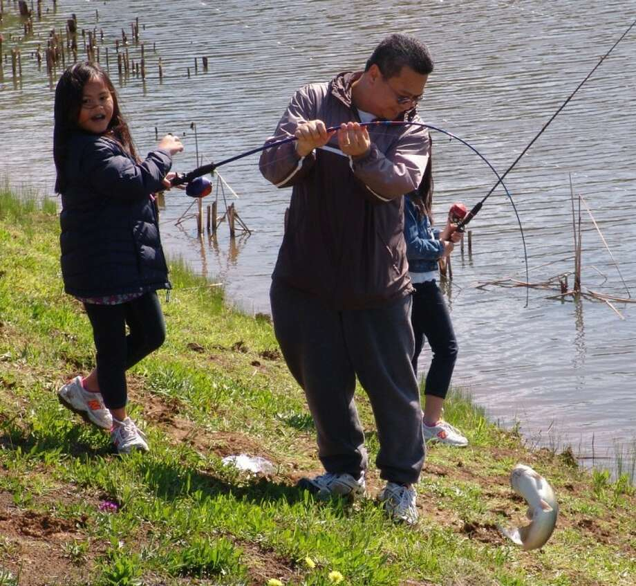 Kids of all ages landed some good looking fish at the pond at Centennial Park on Saturday (April 21) during KIDFISH. Photo: JEFF NEWPHER