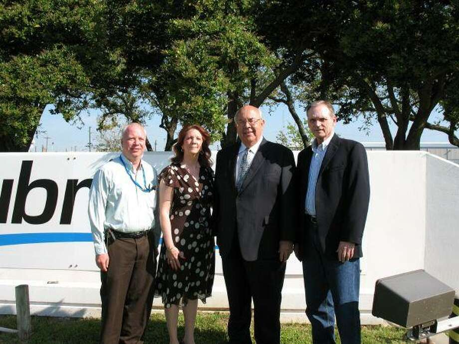 Pictured from left to right is Tony Schick, Lubrizol plant manager; Deborah Peres, Lubrizol finance manager; Deer Park Mayor Wayne Riddle and Chris Hext, Lubrizol public affairs manager.